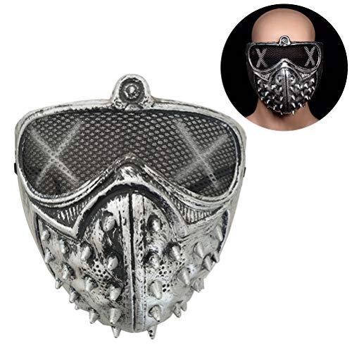 Kikier Cosplay of Watch Dogs 2 Maskenschlüssel Kunststoff Nieten Maske Cool Halloween Party Cosume (schwarz), JJ0101288_SR-1254-1107255341, Silber