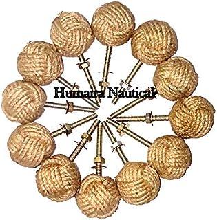 Humaira Nauticals 12 Knotty Door knobs - Nautical Drawer pulls - Jute Rope Drawer pulls A