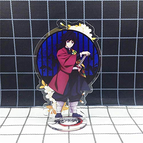 Apehuyuan Anime Demon Slayer Kimetsu no Yaiba Figure Display Stand Acrylic Desk Miniature Home Room Decor(Giyuu Tomioka)
