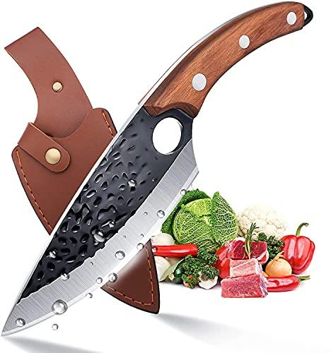 Hackmesser Ausbeinmesser mit Lederhülle Full Tang Handgeschmiedet Küchenmesser zum Fleischschneiden Metzgermesser für die Küche Outdoor Camping Angeln BBQ mit Geschenkbox