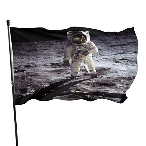 Flagge,Hanging Flag Dekor,Garten Banner,Fahne,America Apollo Astronaut Mondlandung Polyester Flagge - Lebendige Farbe Und Uv-Lichtechtheit Für Den Außen-/Innenbereich 150X90 cm