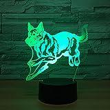 Lozse Ilusión 3D lámpara perro lobo LED lámpara creative touch sensor de luz lámpara...