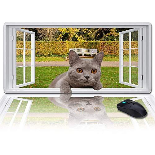 Duża podkładka pod mysz mata na biurko 89 x 38 cm, parkowanie za oknem i kot w oknie podkładka pod klawiaturę dla graczy, biura i domu