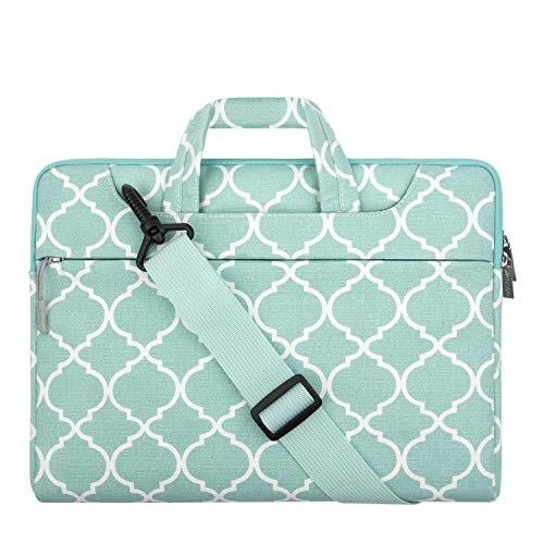 MOSISO Laptop Shoulder Bag Compatible with 2019 MacBook Pro 16 inch A2141, 15 15.4 15.6 inch Dell Lenovo HP Asus Samsung Sony Chromebook, Canvas Carrying Briefcase Sleeve Case Quatrefoil MO-QAF004