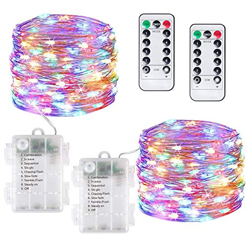 Guirnaldas Luces LED, [2 Pack] 12M 120LED, funciona con Pilas, Impermeable Luces de Hadas para Interiores/Exteriores, para Decoración, Bodas, Cumpleaños,Fiestas, Navidad (Vistoso)