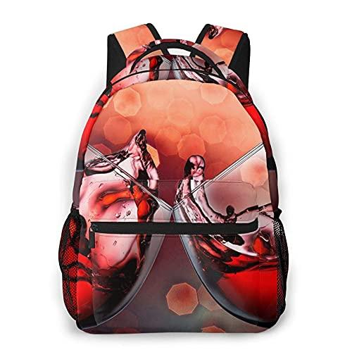 DJNGN Mochila informal con estampado de aclamaciones de copa de vino tinto, mochila clásica para viajar con bolsillos laterales para botellas