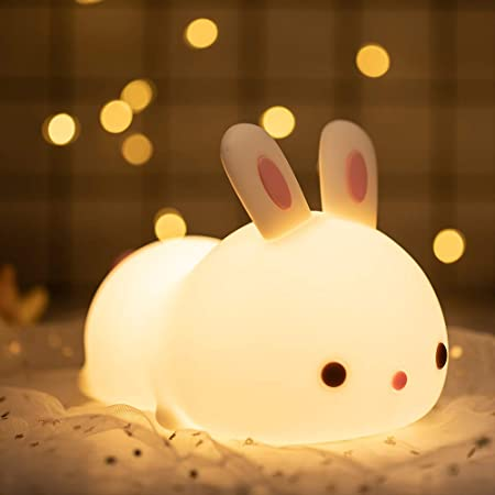 Cute Bunny Night Light, Gifts for Kids/Toddler/Teen Girls/Boys, Portable Animal Lamp for Bedroom,Silicone Nursery Stuff,Kawaii Room Decor,Color Changing/Squishy Baby Toys,Light up Anime Rabbit