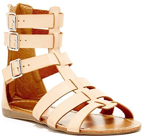 Bucco Prados Womens Fashion Vegan Low Wedge Strappy Gladiator Sandals, Nude, Size 5.5, US