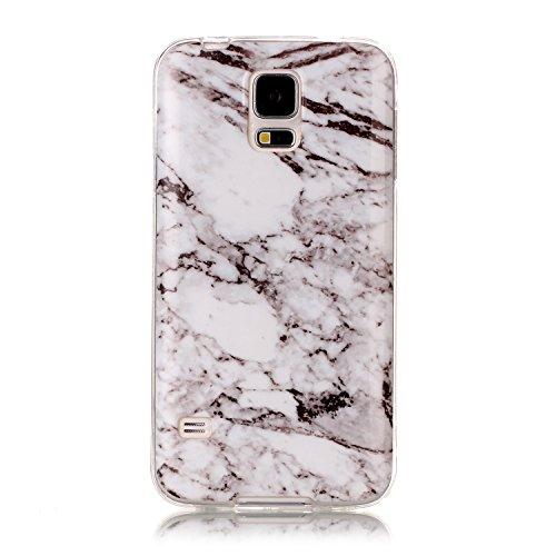 Homikon Silikon Hülle Marmor Muster TPU Handyhülle Ultra Dünn Matt Weiche Schutzhülle Stoßdämpfend Rückseite Soft Flexibel Tasche Case Cover Bumper Kompatibel mit Samsung Galaxy S5 - #9