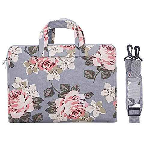 MOSISO Canvas Fabric Rose Pattern Laptop Shoulder Messenger Handbag Case Cover Sleeve Compatible with 13-13.3 Inch MacBook Pro, MacBook Air, Surface Book, Notebook Computer, Gray