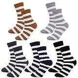 QKURT 5 Pares Calcetines Borrosos para los hombres,Invierno Calcetines Termicos,calcetines dormir,calcetines casa niño