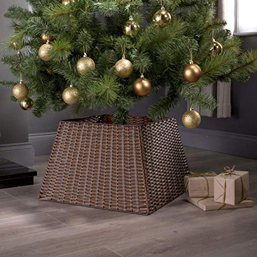 Christmas Tree Skirt | Dark Strong Willow Rattan Xmas Festive Wicker Stand Base | Basket Cover Adds EXtra Style | Long Lasting | Perfect Decoration | Indoor Use
