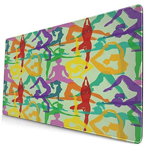 LASINSU Alfombrilla Gaming,Patrón de meditación Colorido con Varias posturas de Yoga,con Base de Goma Antideslizante,750×400×3mm