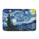 HUGS IDEA Vincent Van Gogh - Felpudo de bienvenida con diseño de galaxia, color azul fresco, decoración del hogar, duradero, lavable, para interiores y exteriores, para casa
