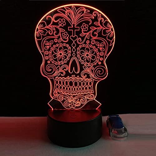 QAIXP Luz de noche 3D Lámpara 3D con forma de calavera, lámpara LED USB, luz táctil, colores RGB, mesa de cambio, luz nocturna, decoración de cabecera, lámpara LED de moda 3D Ilusión Lámpara