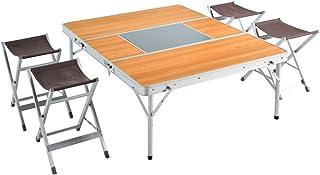 タンスのゲン アウトドアテーブルチェアセット 幅120cm 折り畳み式 軽量 アルミ 木目調 44400076 00 【68948】