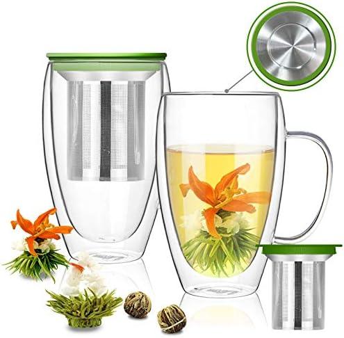 Glass Coffee Mugs Set of 2 15 2oz Double Walled Espresso Cups Clear Latte Mug Insulated Tea product image