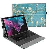 Fintie Hülle für Microsoft Surface Pro 7+/ Pro 7/ Pro 6/ Pro 5/ Pro 4/ Pro 3 12,3 Zoll Tablet - Multi-Sichtwinkel Hochwertige Tasche Schutzhülle aus Kunstleder, Type Cover kompatibel, Mandelblüten