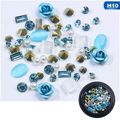Meiyy Nageldecoratie, verschillende soorten kristallen, kleurrijk, decoratie van metaal, ornamenten, strass, glas, voor nageldesign, 3D-kunstdecoratie H10
