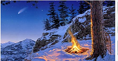 Fire Bunch of Snow Beside A Tree 5D Diamond Painting Full Diamond Set DIY Embroidery Round Rhinestone Painting Mosaic Cross Stitch Home Living Room Decoration Gift