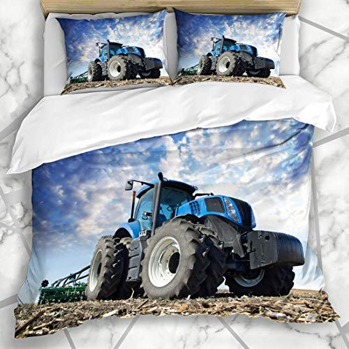 Juegos de Fundas nórdicas Tractor Red Agriculture Ruedas en un Campo Enorme Farmer Industrial Tire Road Modern Trailer Car Design Microfiber Bedding with 2 Pillow Shams