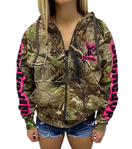 Zipper Hoodie Realtree APG Camo with Pink Logo (Small, Pink)