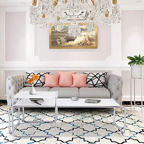 Pumpumly Casa in acciaio inox nidificazione tavolino da caffè, design moderno divano lato angolo lampada tavolo, piccolo quadrato nidificazione tavoli per soggiorno