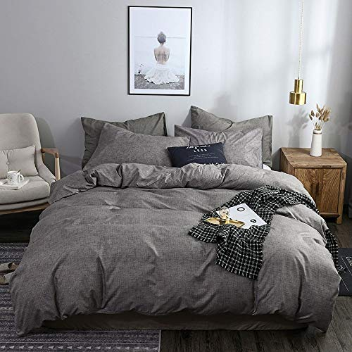 Mercery King Duvet Cover Set, 3 Pieces-White Comforter Set King Size- 1 Duvet Cover with 2 Pillow Shams, Ultra Soft Zipper Closure White Bedding Set, King 104x90 inch (Grey, King)