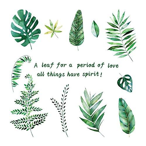 Lumanuby 1x Grüne Tropische Pflanze Verlässt Wand Aufkleber Abnehmbarer Blätter Wand Decal für Wohnzimmer & Schrank, Wandtattoo Serie