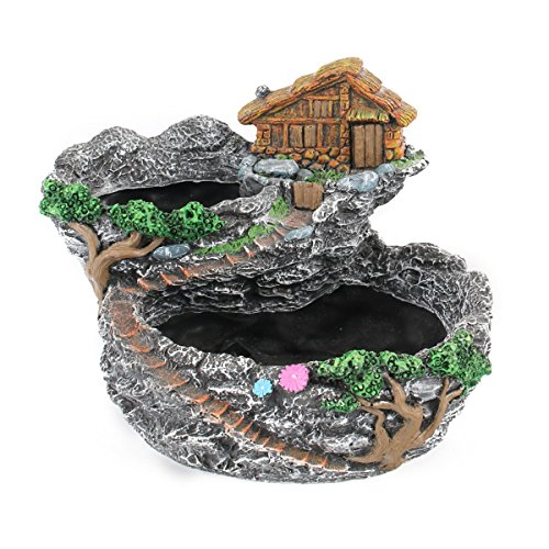 Ounona Fée Résine Pot de fleurs moderne Jardin miniature Sweet House Cottage Pot de fleurs DIY bonsaï Pots pour plantes artificielles Décoration de table Intérieur Extérieur (Gris)