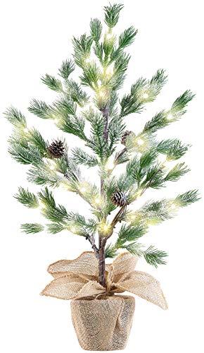 Britesta Weihnachtsbaum: Deko-Nadelbäumchen im Topf, mit 24 LEDs, Kunstschnee und Zapfen, 70 cm (Dekobaum)
