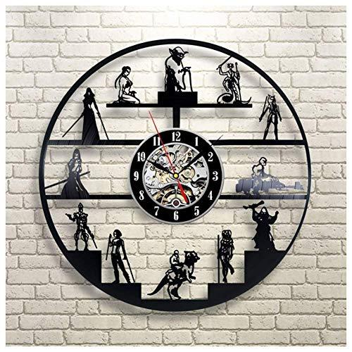 YXB Horloges murales silencieuses sans coutil Star Wars Horloge Style rétro à Suspendre-décorer pour Hommes et Enfants idée Cadeau 30 cm de diamètre