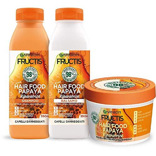 Garnier Fructis Hair Food Papaya Riparatrice, Kit con Shampoo, Balsamo e Maschera per Capelli Danneggiati, 98% di Ingredienti di Origine Naturale, Senza Siliconi