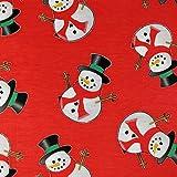 FS030_1 Mütze und Schal, roter Schneemann, Polyester,