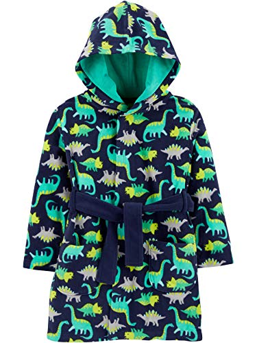 Simple Joys by Carter's Boys' Toddler Cozy Robe, green dinosaur, 2T-3T