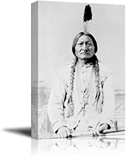 Portrait of American Indian Chief Sitting Bull - Inspirational Famous People Series   Giclee Print Canvas Wall Art. Ready to Hang - 12