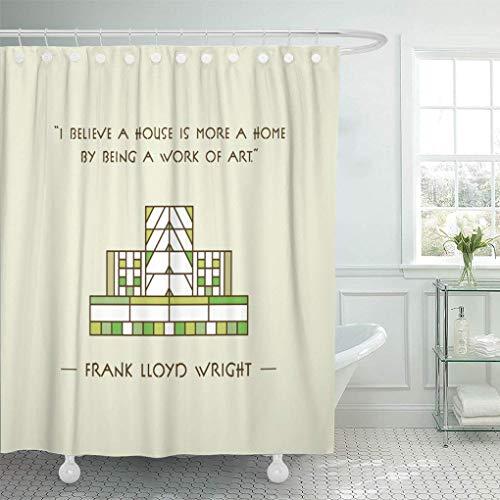 NA Semtomn Cortina de Ducha Kitschy Frank Lloyd Wright Kitsch Vintage Mid Century Modern Home Decor Impermeable Baño Baño Cortinas Set con Ganchos