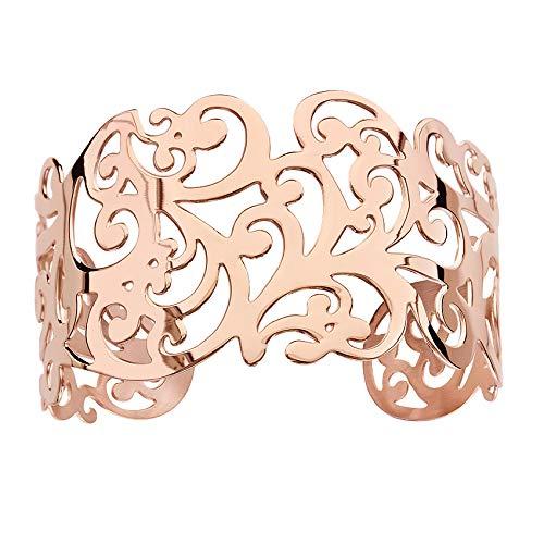 1001 bijoux–Braccialetto Acciaio Rigida Motivi Volute PVD Rosa Taglio