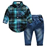 Kimocat Casual Suit for Toddler Boy 2Pcs Long Sleeve Plaid Shirt Onesies and Jeans Outfits(0-6months)