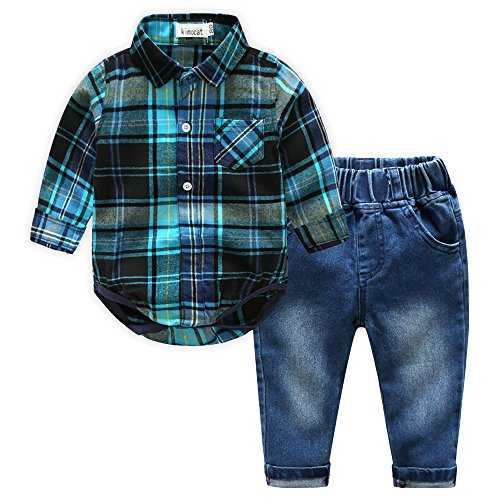 Kimocat Casual Suit for Toddler Boy 2Pcs Long Sleeve Plaid Shirt Onesies and Jeans Outfits(3T) Blue