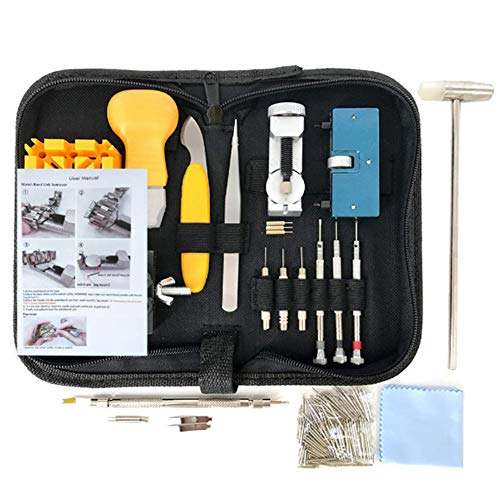 Horloge Reparatie Kit,Spring Bar Tool Set in Draagtas, Horloge Band Link Pin Tool Set,Horloge Batterij Vervanging Tool Kit voor het repareren van verschillende horloges (168 stuk)