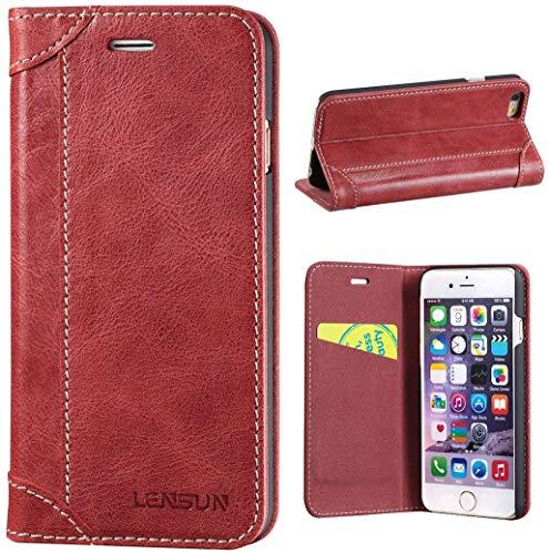 LENSUN Funda iPhone 6 / 6S, Funda de Cuero Genuino Ranura para Tarjetas Cierre Magnetico Piel Protección con Tapa para Apple iPhone 6 / 6S 4,7' - Rojo Vino (6G-DX-WR)