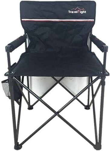 Zichen Chaise pliante Chaise de camping pliante en plein air, cadre en acier robuste, portable avec porte-gobelet, utilisation du festival pêche jardin plage (Couleur   noir)