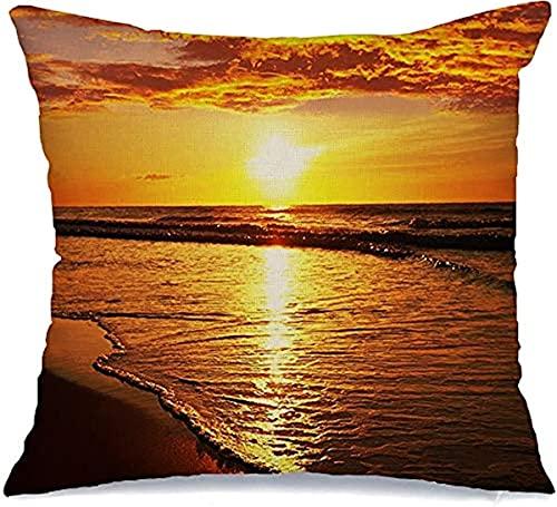 BONRI Funda de almohada decorativa de poliéster Serenity Textures Sunset Sun Nature Relax Fashion Hawaii Parks Diseño de vacaciones al aire libre Travel Ocean Square Cushion funda (45 x 45 cm)
