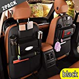 2 Pack PU Leather Premium Car SeatBack Organizer Travel Accessories, Car Seat Back Organizer Seat Protector/Kick mats Back seat Protector and Cup Holder Holder,Universal Use Seat Covers