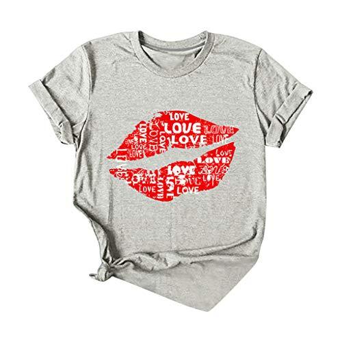 Damen Grafik T-Shirt Lippen Muster Shirt Rundhals Kurzarm Loose Oberteile Sommer Casual Sunshine Oben Hemd Große Größe Tops Bluse S-4XL