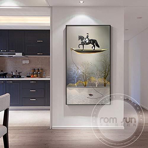 Leinwand Malerei gedruckt Moderne abstrakte Goldboot Landschaft Kunst auf Leinwand Gemälde für Wohnzimmer Schlafzimmer Poster und Drucke Home Wall Poster Dekor