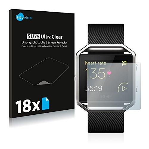 Savvies 18x Schutzfolie kompatibel mit Fitbit Blaze Bildschirmschutz-Folie Ultra-transparent