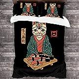 PThome05 Neko Sushi Bar Cat Juego de ropa de cama de 3 piezas y funda de edredón decoración de 3 piezas y 2 fundas de almohada de 86 x 70 pulgadas