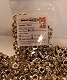 Woodruff Industries 150 Pieces Eyelet Silver Grommet Kit Durable Iron Metal Nickel Plated 5 mm Hole Clothes and Leather Eyelet for Arts and Crafts Scrapbook Shoe Grommets